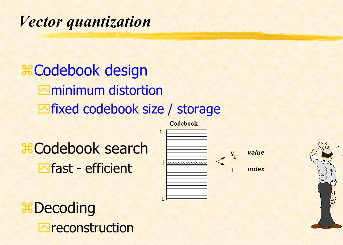 Vector quantization Codebook design Codebook search Decoding