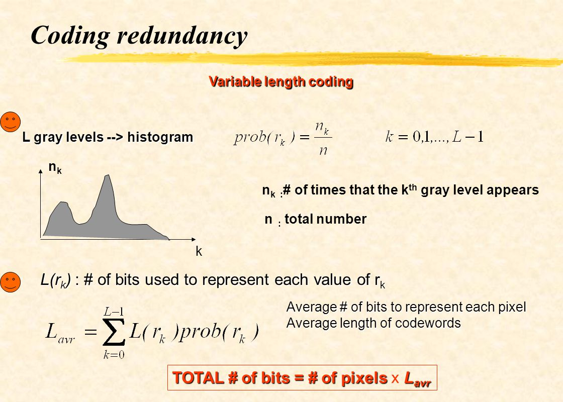 Coding redundancy L(rk) : # of bits used to represent each value of rk