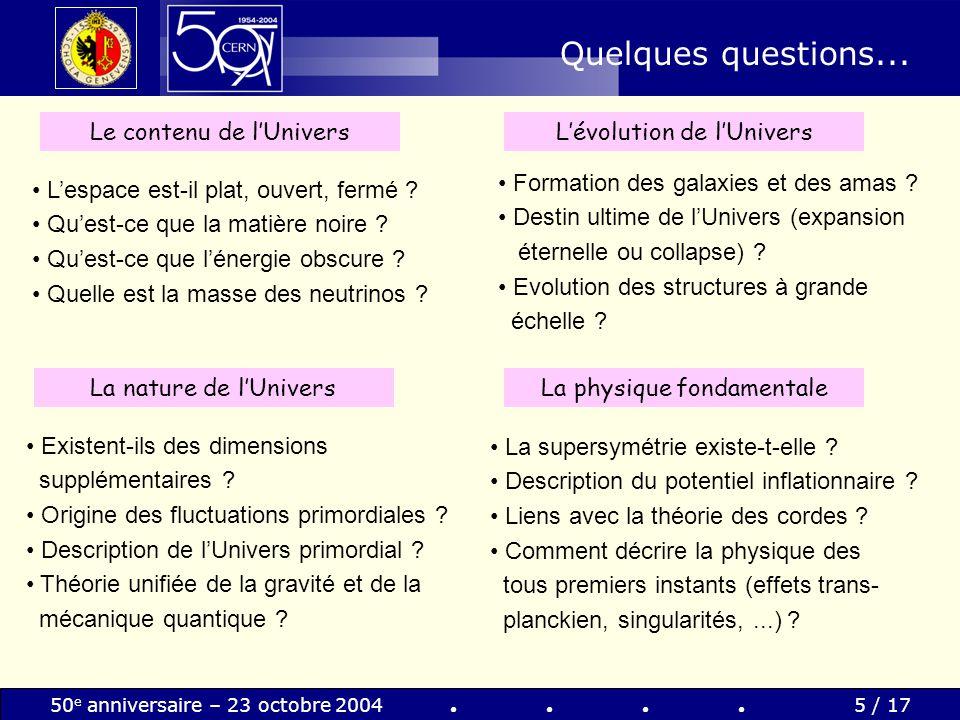 Quelques questions... Le contenu de l'Univers L'évolution de l'Univers