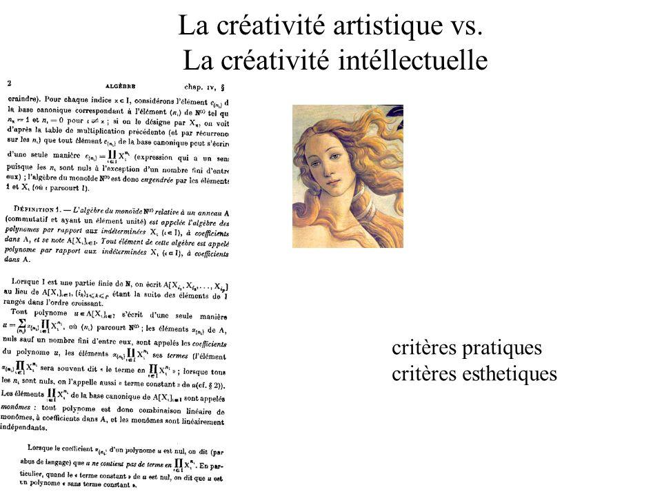 La créativité artistique vs. La créativité intéllectuelle