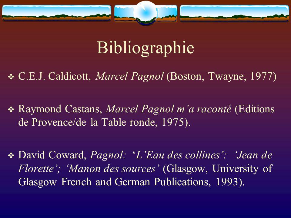 Bibliographie C.E.J. Caldicott, Marcel Pagnol (Boston, Twayne, 1977)