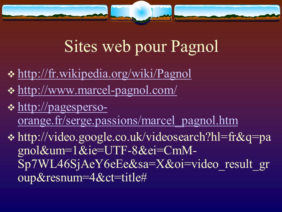 Sites web pour Pagnol http://fr.wikipedia.org/wiki/Pagnol