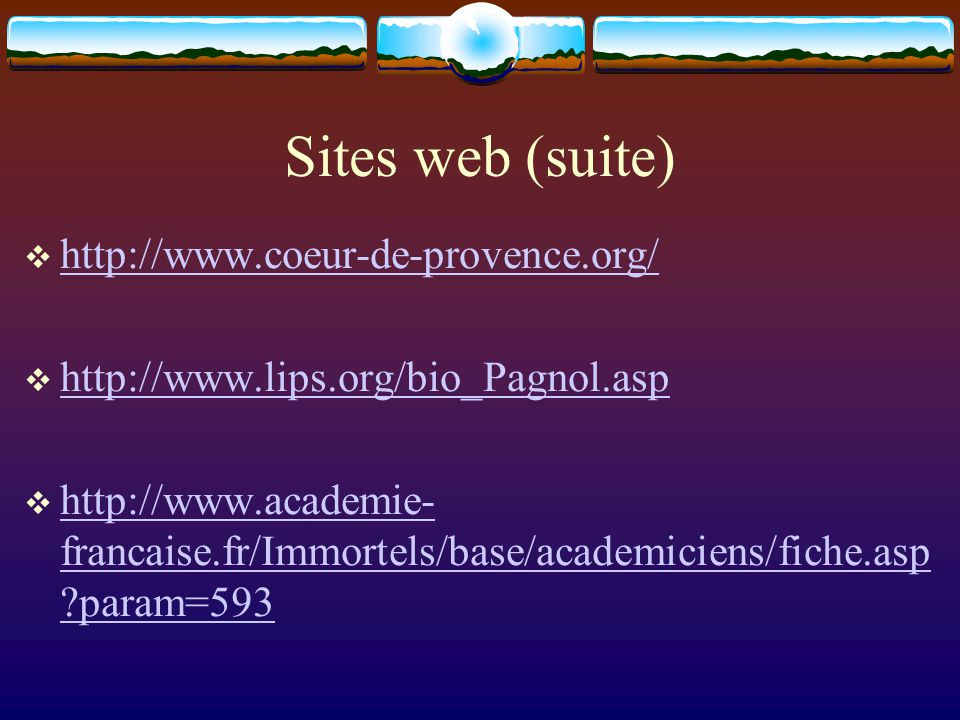 Sites web (suite) http://www.coeur-de-provence.org/