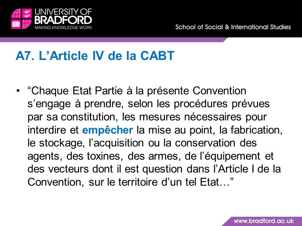 A7. L'Article IV de la CABT