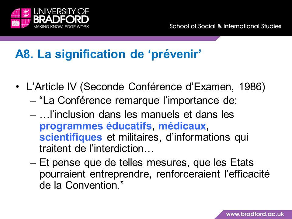 A8. La signification de 'prévenir'