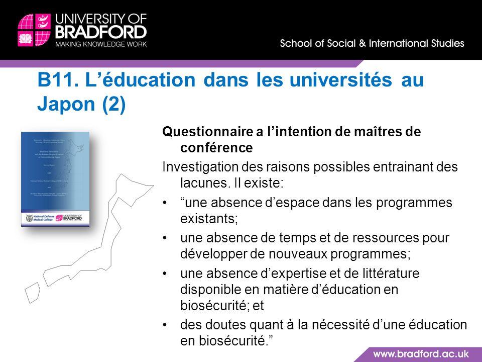 B11. L'éducation dans les universités au Japon (2)