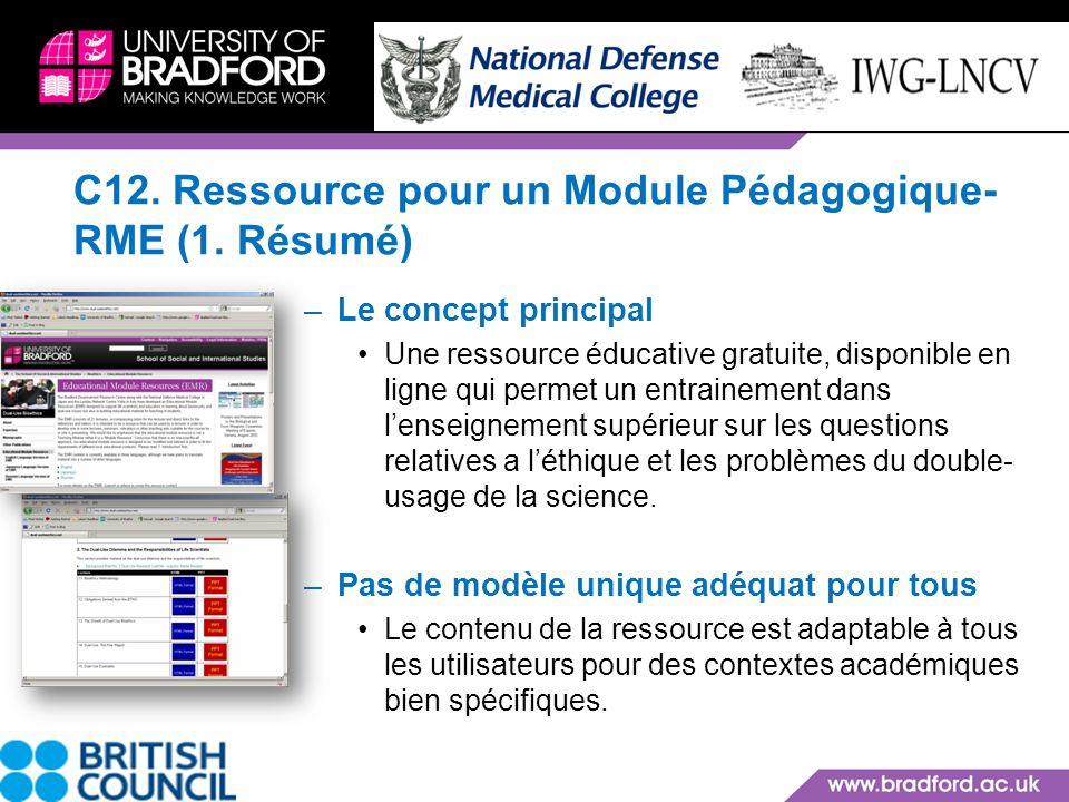 C12. Ressource pour un Module Pédagogique-RME (1. Résumé)