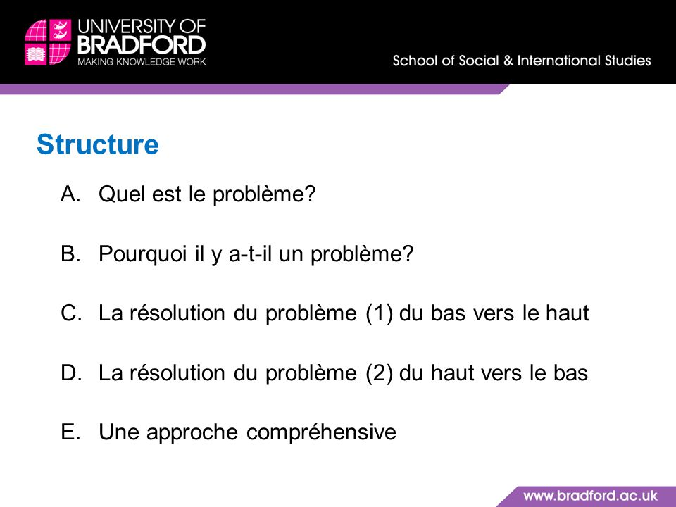 Structure Quel est le problème Pourquoi il y a-t-il un problème