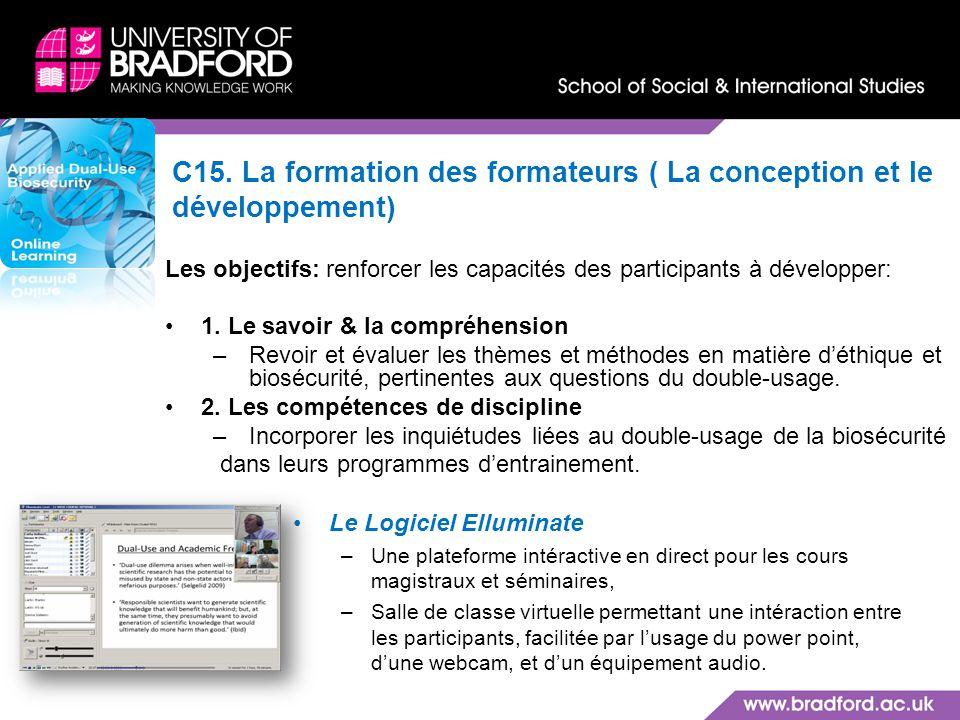 C15. La formation des formateurs ( La conception et le développement)