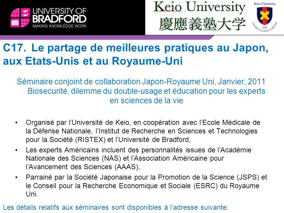 C17. Le partage de meilleures pratiques au Japon, aux Etats-Unis et au Royaume-Uni