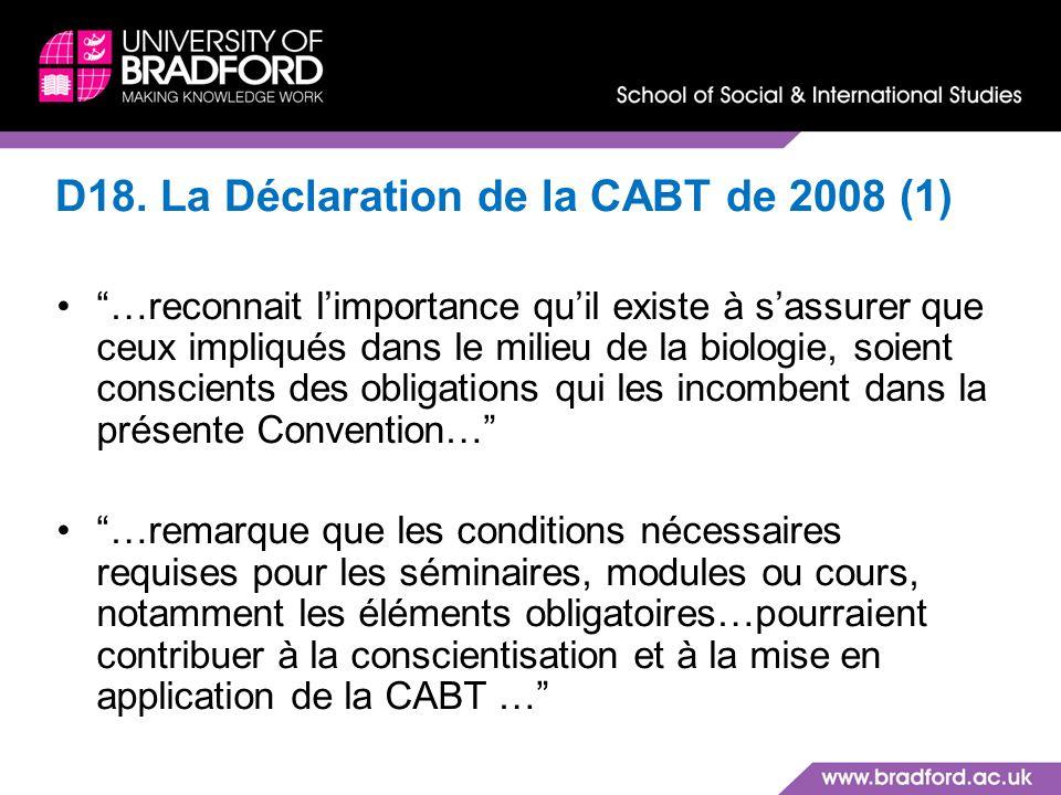 D18. La Déclaration de la CABT de 2008 (1)