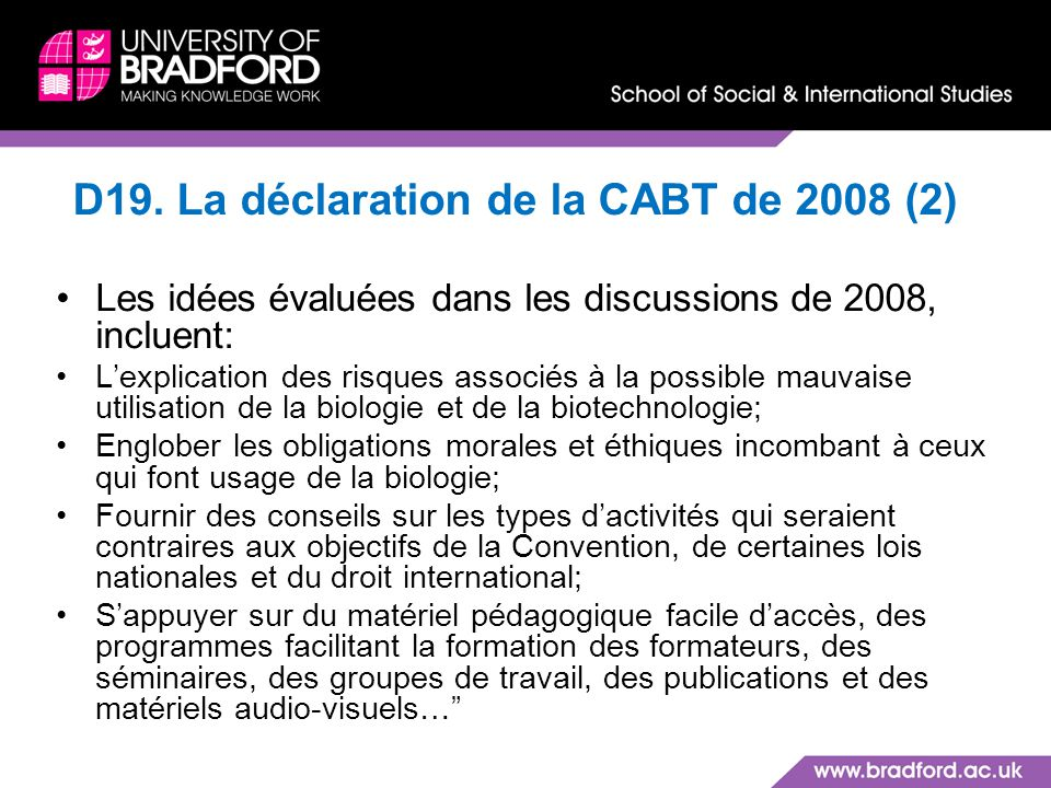 D19. La déclaration de la CABT de 2008 (2)