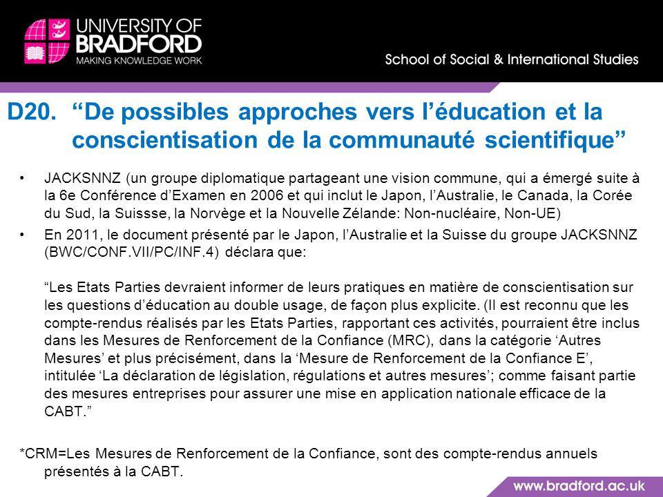 D20. De possibles approches vers l'éducation et la conscientisation de la communauté scientifique