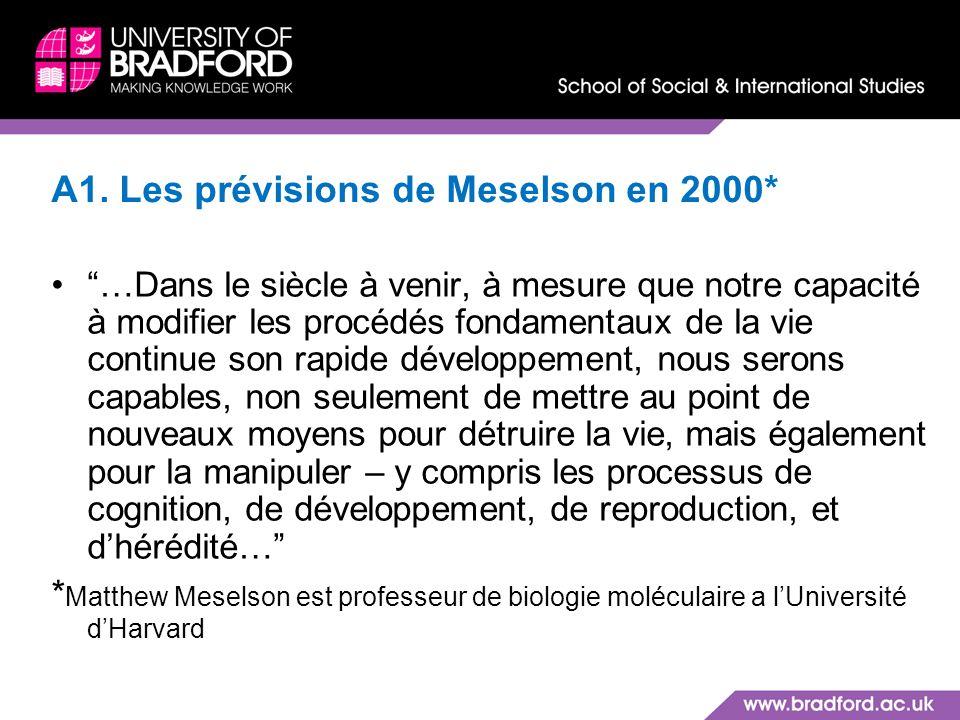 A1. Les prévisions de Meselson en 2000*