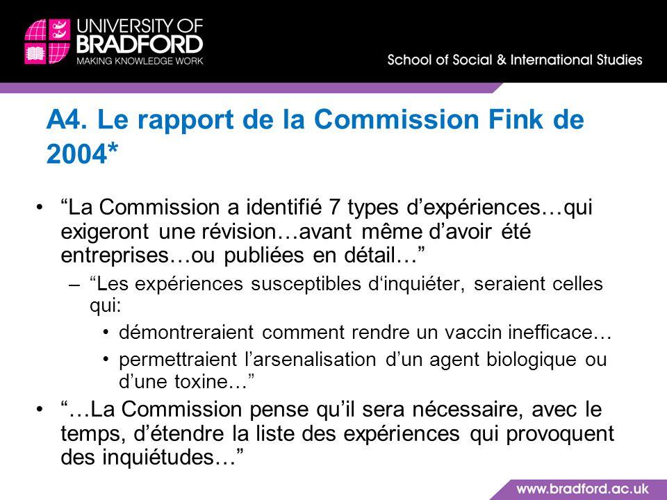 A4. Le rapport de la Commission Fink de 2004*