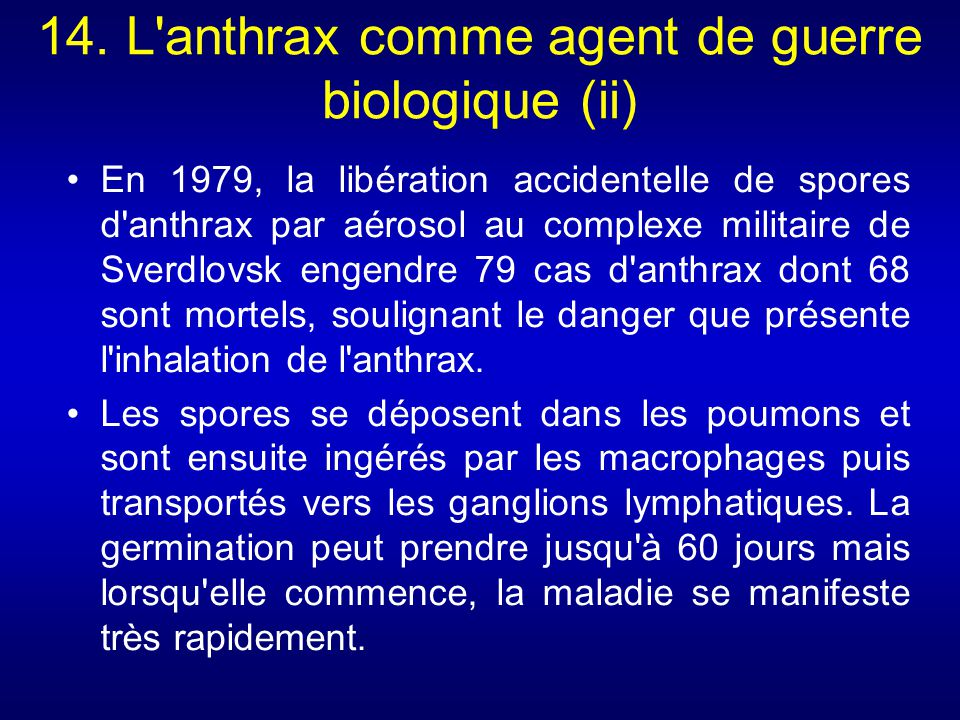 14. L anthrax comme agent de guerre biologique (ii)