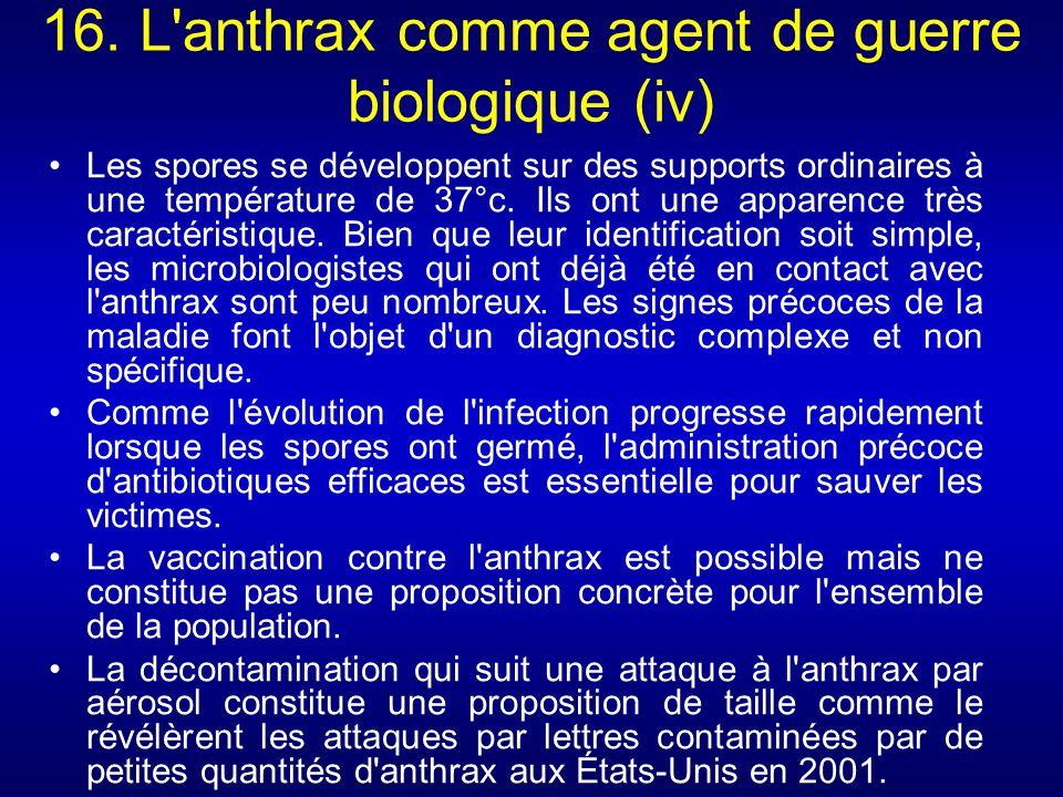16. L anthrax comme agent de guerre biologique (iv)