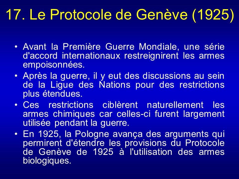 17. Le Protocole de Genève (1925)
