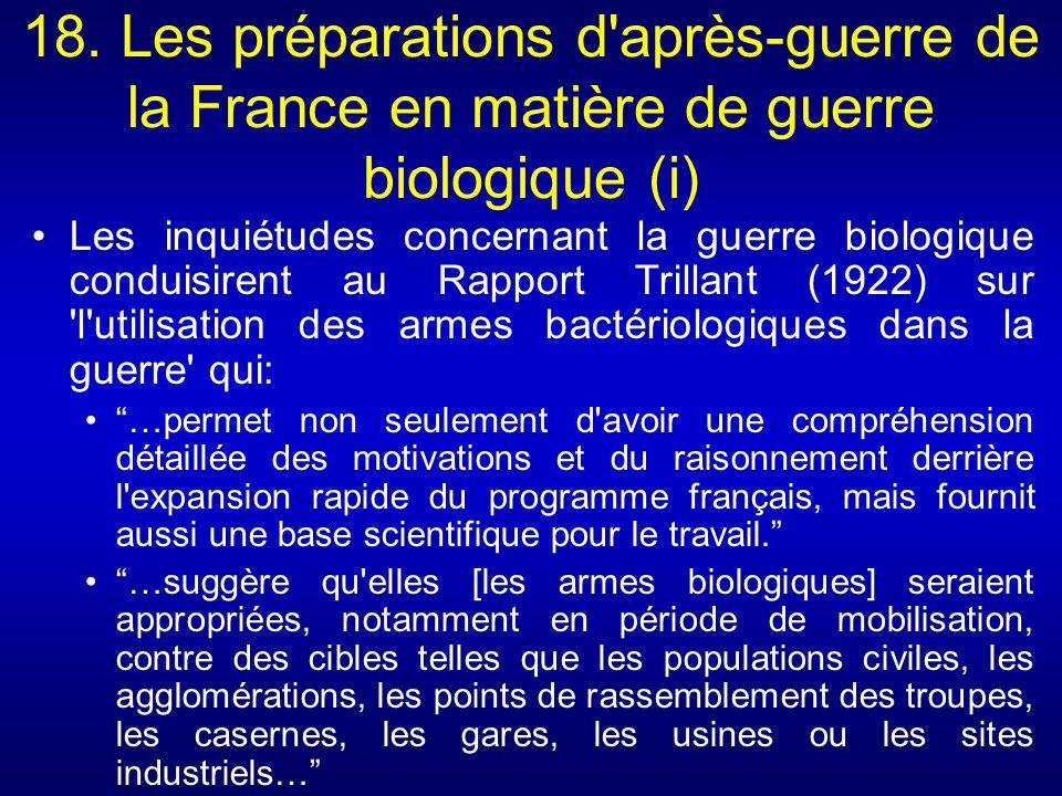 18. Les préparations d après-guerre de la France en matière de guerre biologique (i)