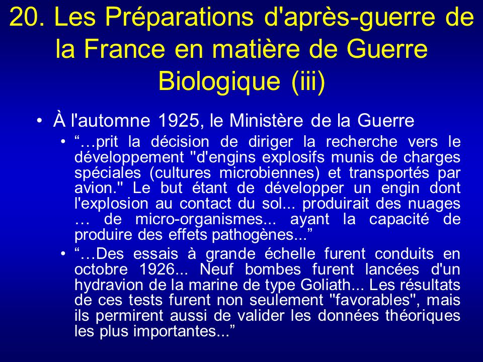 20. Les Préparations d après-guerre de la France en matière de Guerre Biologique (iii)