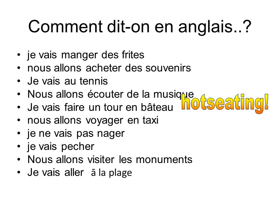 Comment dit-on en anglais..