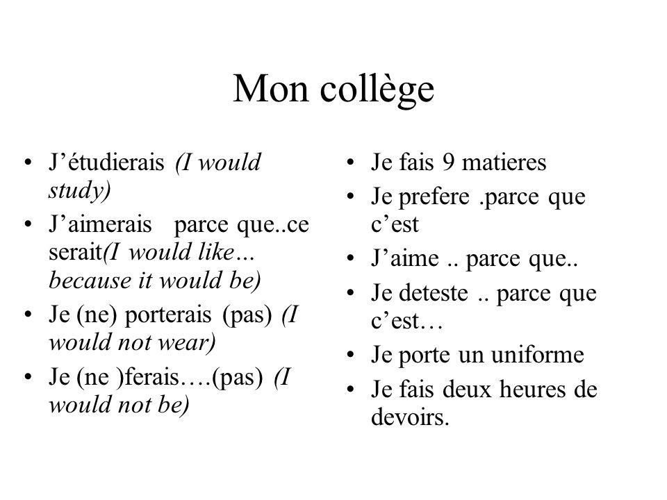 Mon collège J'étudierais (I would study)