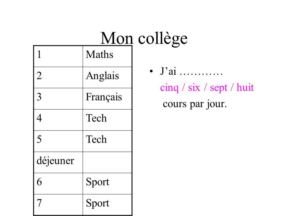 Mon collège 1 Maths 2 Anglais 3 Français 4 Tech 5 déjeuner 6 Sport 7