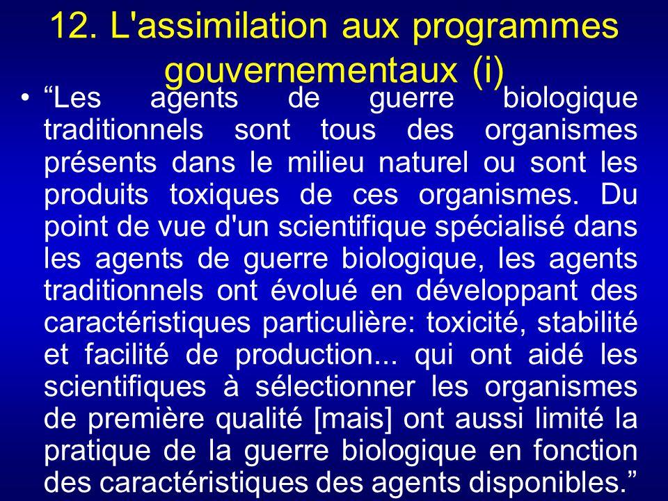 12. L assimilation aux programmes gouvernementaux (i)