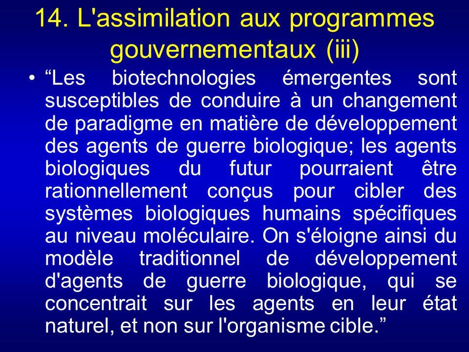 14. L assimilation aux programmes gouvernementaux (iii)