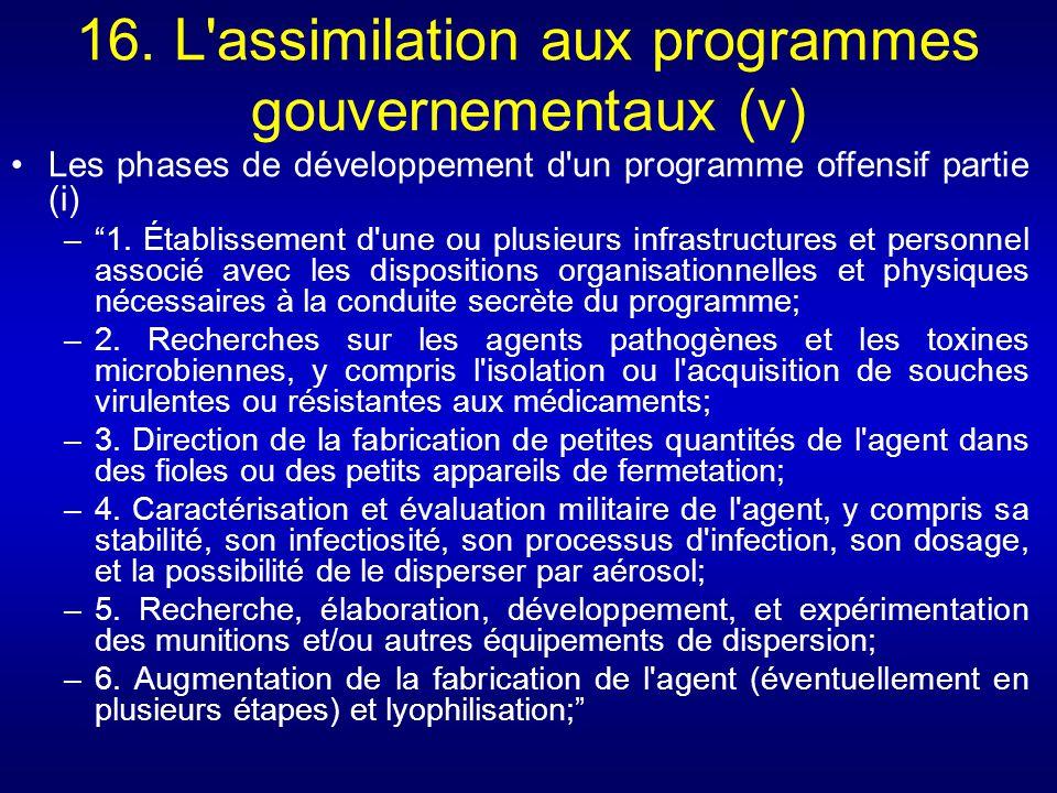 16. L assimilation aux programmes gouvernementaux (v)
