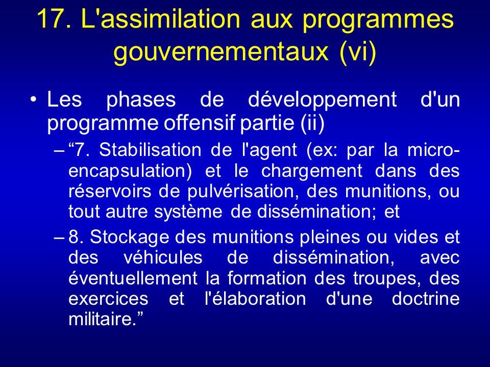 17. L assimilation aux programmes gouvernementaux (vi)