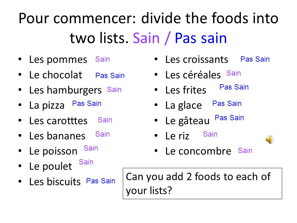 Pour commencer: divide the foods into two lists. Sain / Pas sain