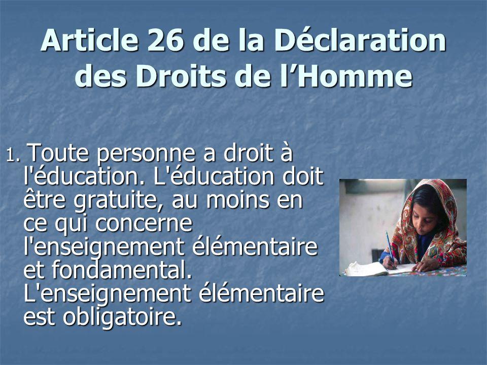 Article 26 de la Déclaration des Droits de l'Homme