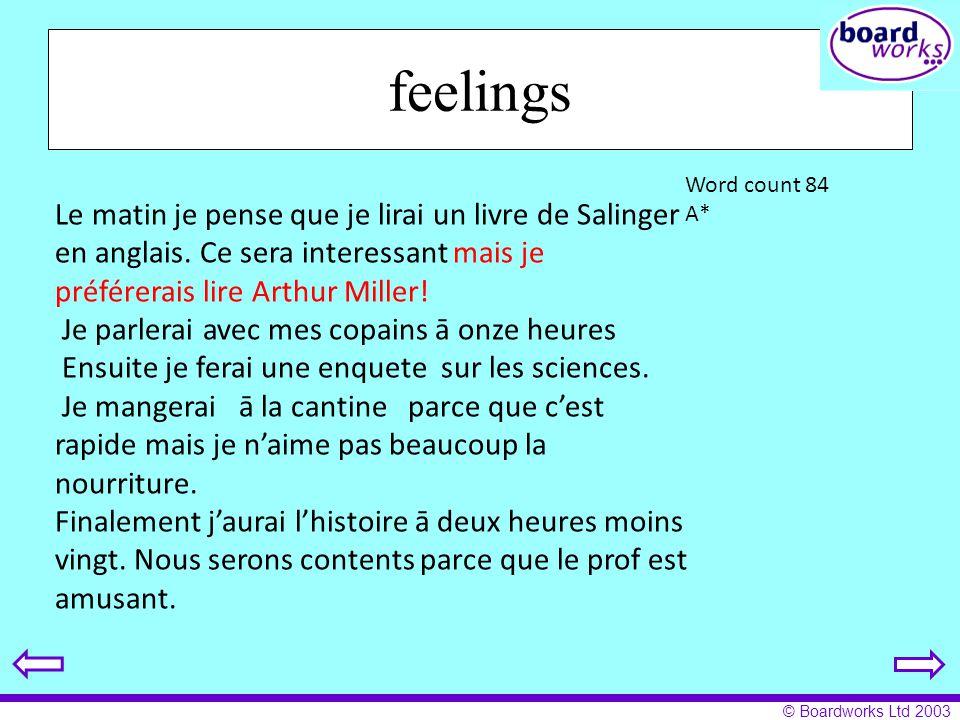 feelings Le matin je pense que je lirai un livre de Salinger en anglais. Ce sera interessant mais je préférerais lire Arthur Miller!
