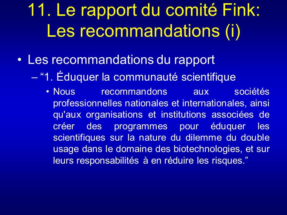 11. Le rapport du comité Fink: Les recommandations (i)