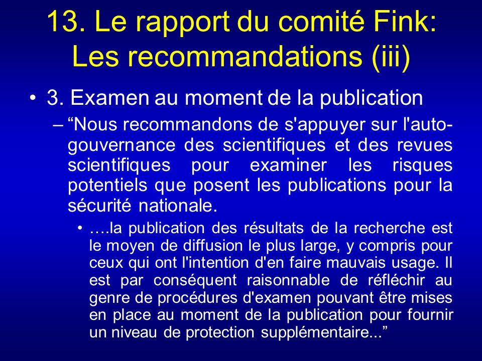 13. Le rapport du comité Fink: Les recommandations (iii)