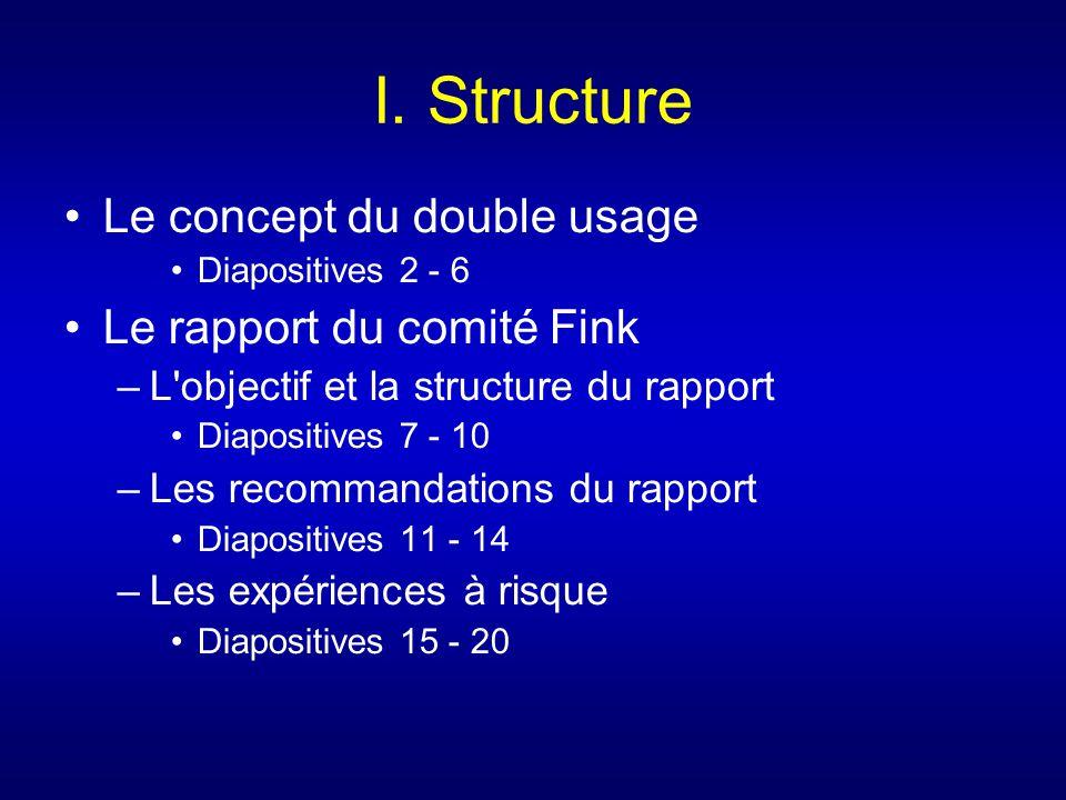 I. Structure Le concept du double usage Le rapport du comité Fink