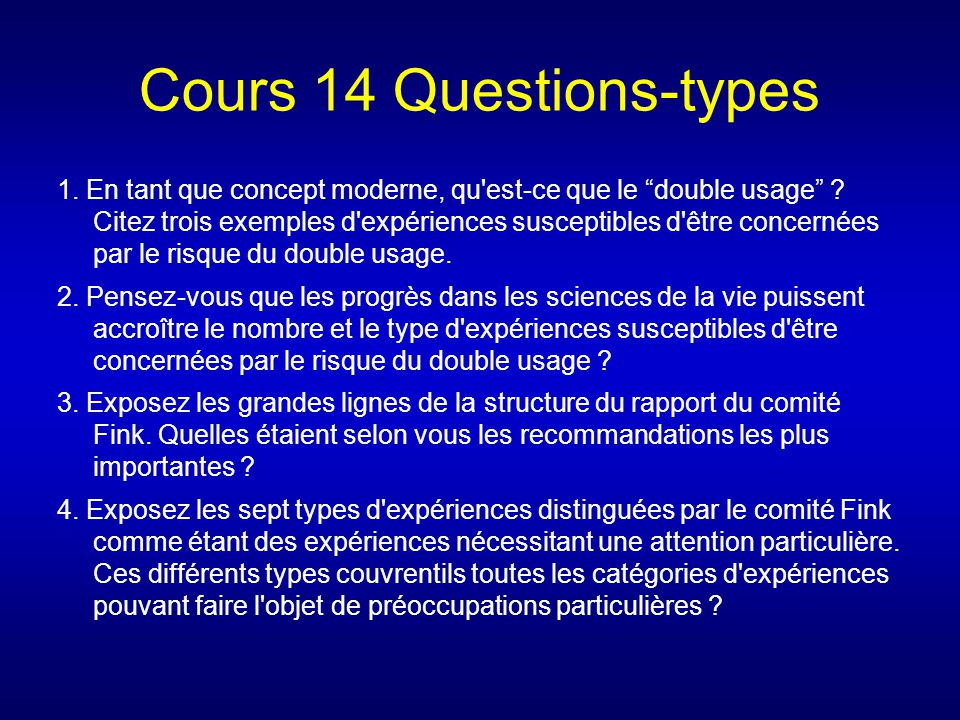 Cours 14 Questions-types