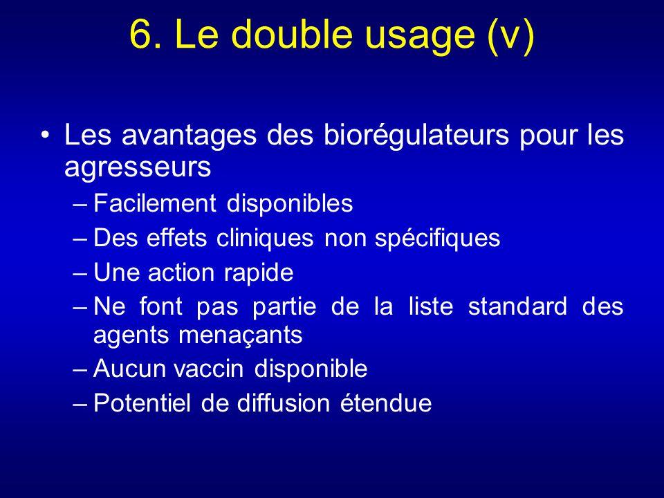 6. Le double usage (v) Les avantages des biorégulateurs pour les agresseurs. Facilement disponibles.