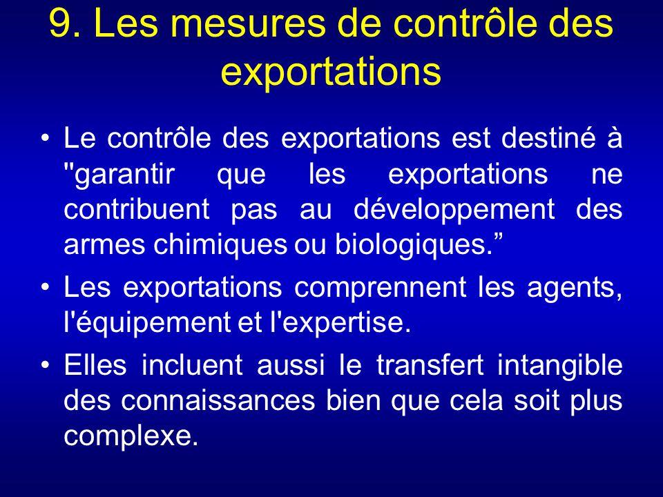 9. Les mesures de contrôle des exportations