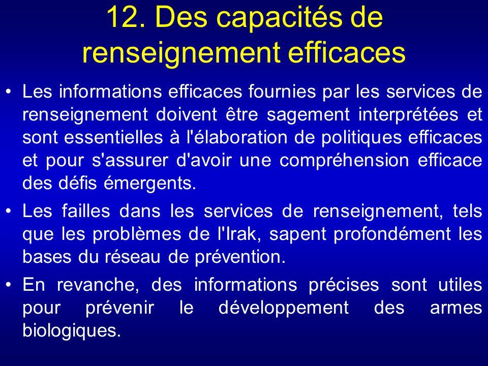 12. Des capacités de renseignement efficaces