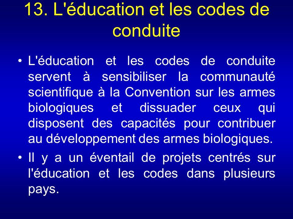 13. L éducation et les codes de conduite