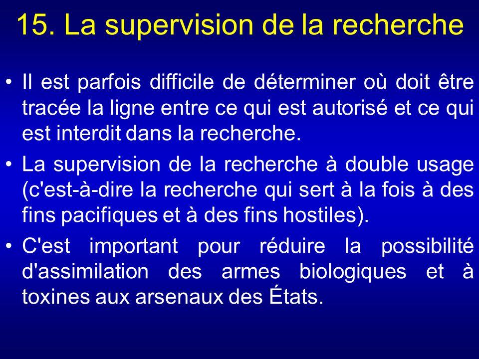 15. La supervision de la recherche