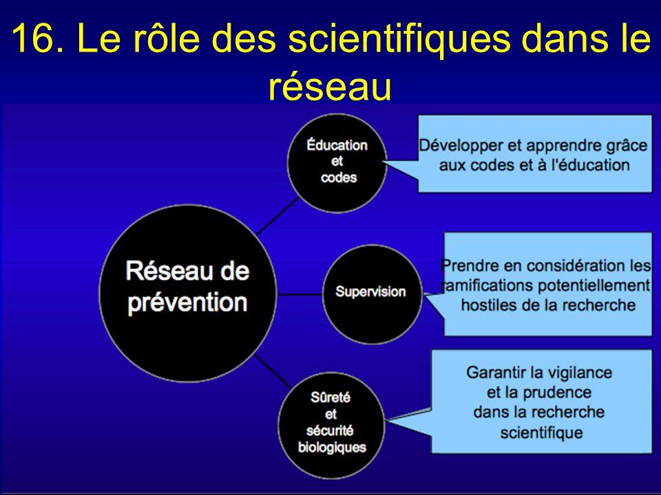16. Le rôle des scientifiques dans le réseau