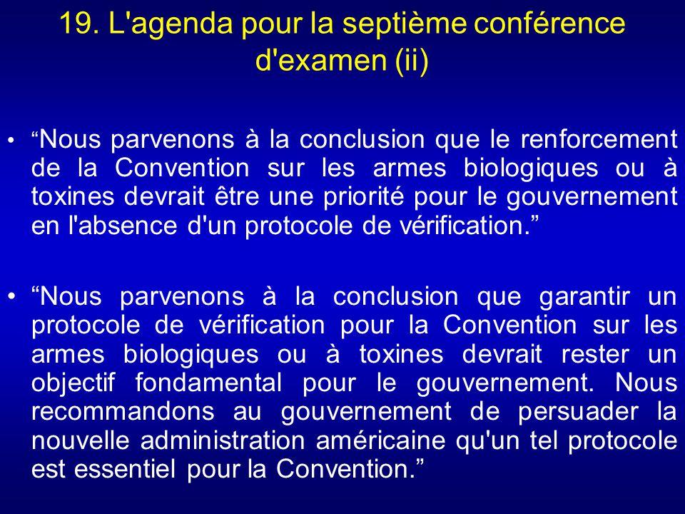19. L agenda pour la septième conférence d examen (ii)