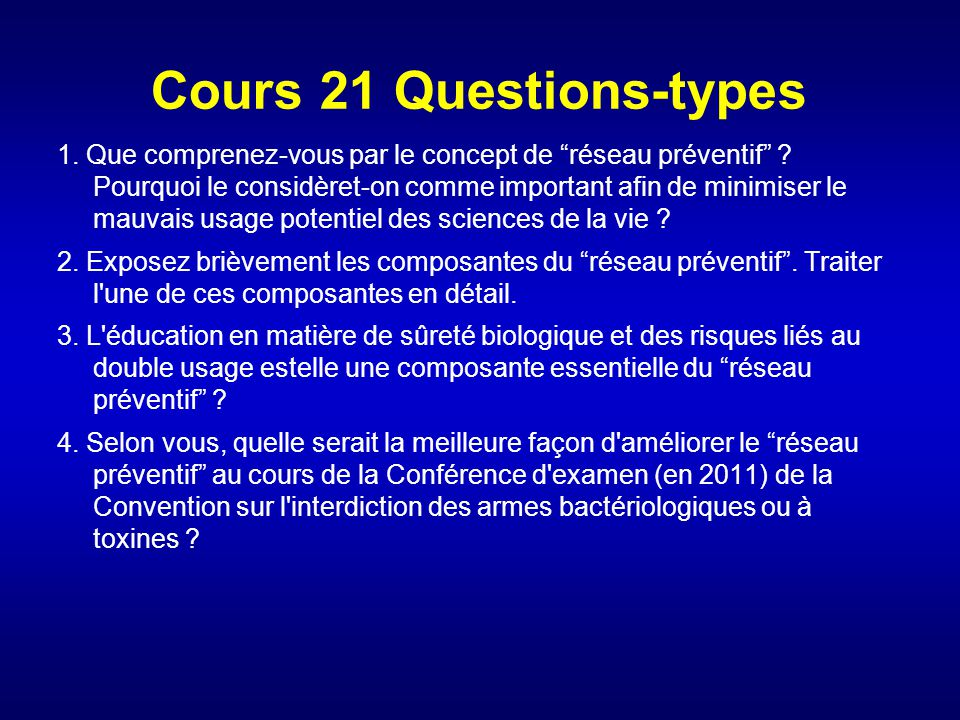 Cours 21 Questions-types