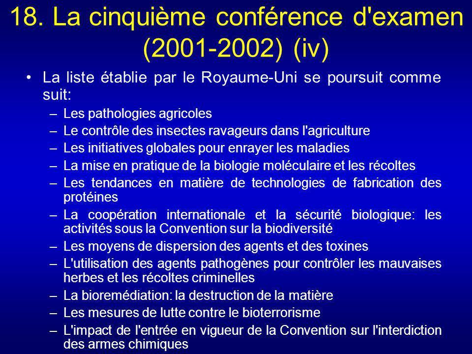 18. La cinquième conférence d examen (2001-2002) (iv)