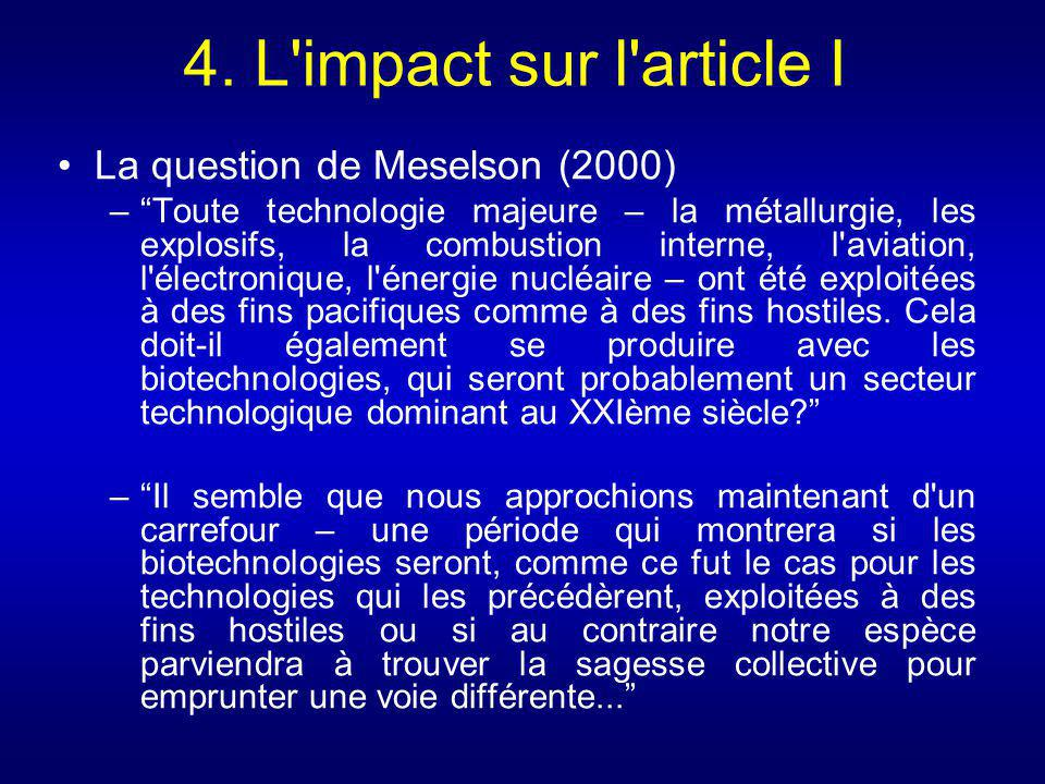 4. L impact sur l article I La question de Meselson (2000)