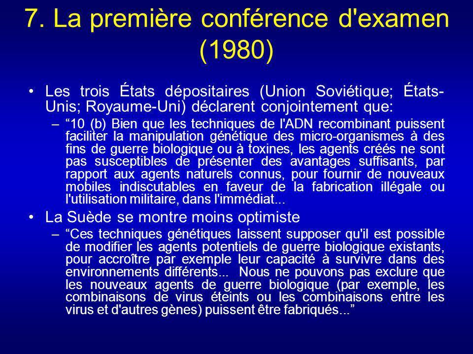 7. La première conférence d examen (1980)
