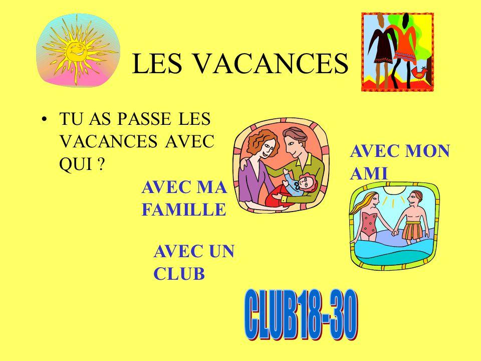 LES VACANCES CLUB18-30 TU AS PASSE LES VACANCES AVEC QUI